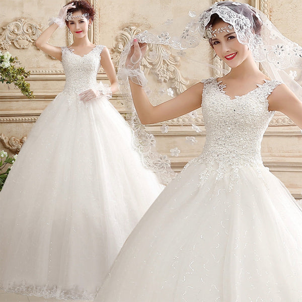 Ball Gown Wedding Dress with Lace V-Neck Bodice