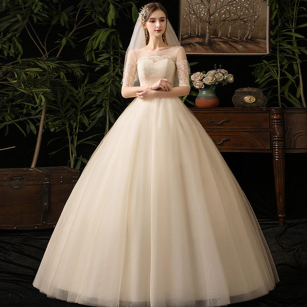 Ball Gown Wedding Dress with Illusion Bodice