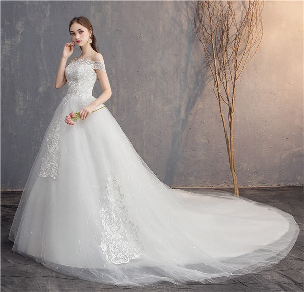 Off-White Off-the-Shoulder Ball Gown Wedding Dress