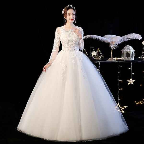 Ball Gown Wedding Dress with Illusion Bodice and Sleeves