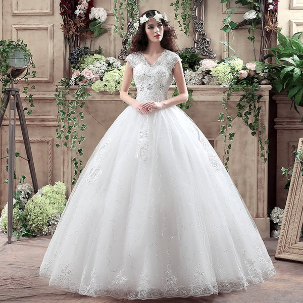Ball Gown Wedding Dress with Cap Sleeves and V-neck