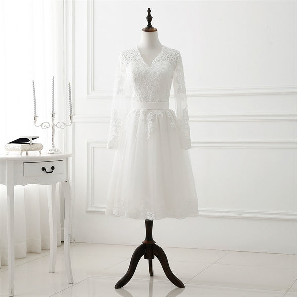 Vintage Long Sleeved Tea Length Wedding Dress
