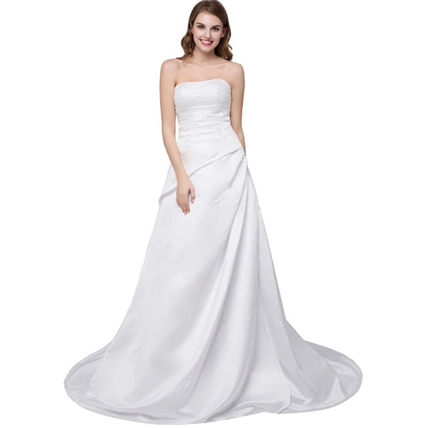 Minimalist Satin A-line Wedding Dress