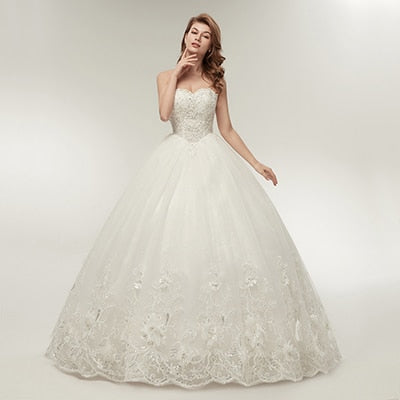 Strapless Princess Wedding Dress with Sweetheart Bodice
