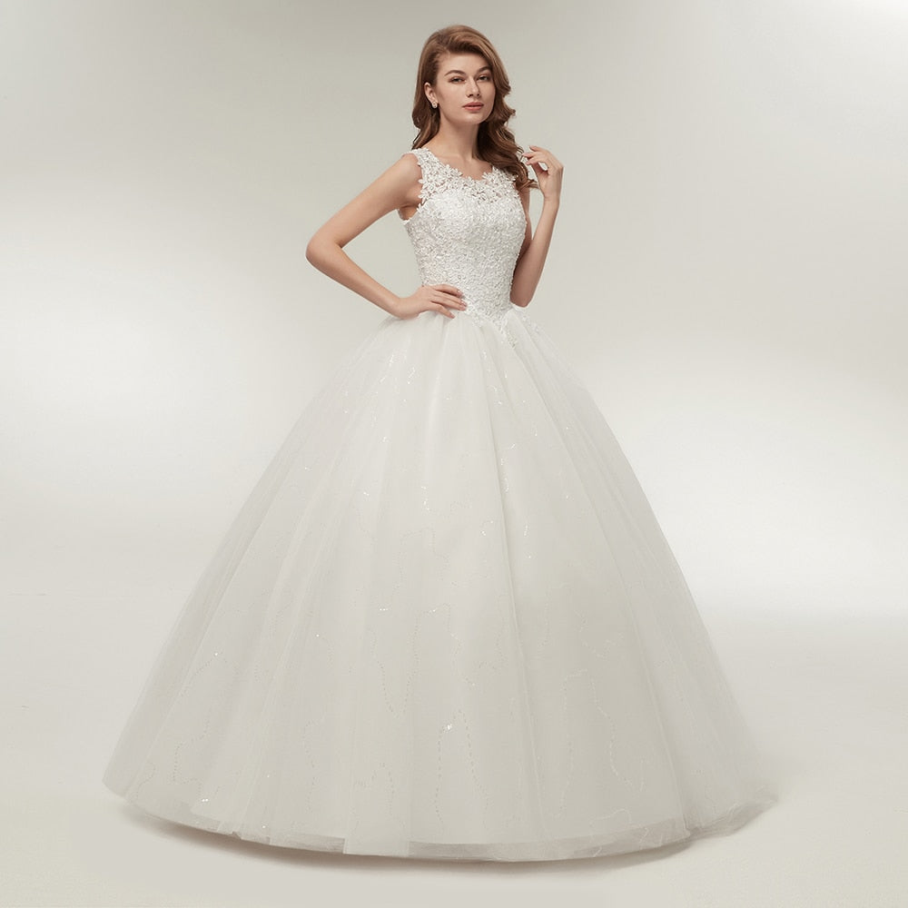 Bateau neckline princess wedding dress