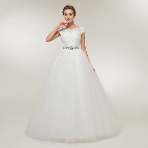 Princess Wedding Dress with Cap Sleeves