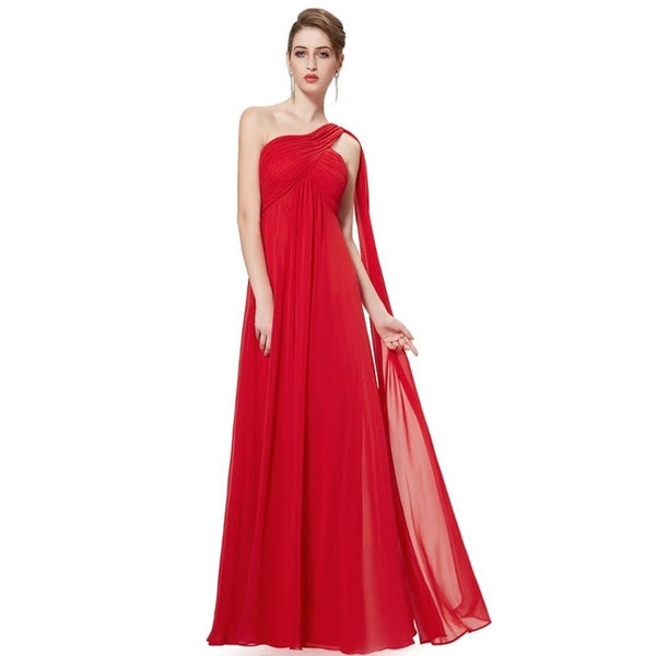 Long Chiffon One Shoulder Evening Dress