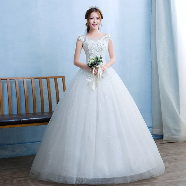 High-Neck Wedding Dress with Illusion Bodice