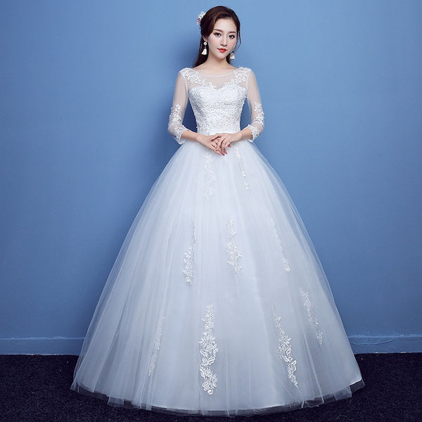 High-Neck Wedding Dress with 3/4 Sleeves