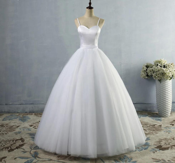 Satin and Tulle Wedding Dress with Spaghetti Straps