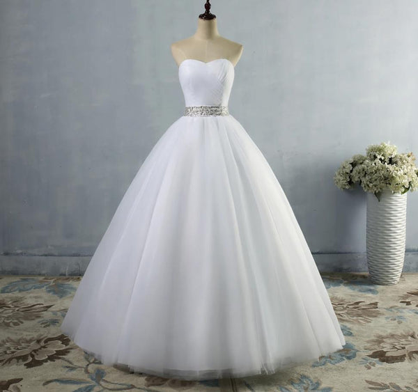 Minimalist Tulle Bridal Gown with a Beaded Sash
