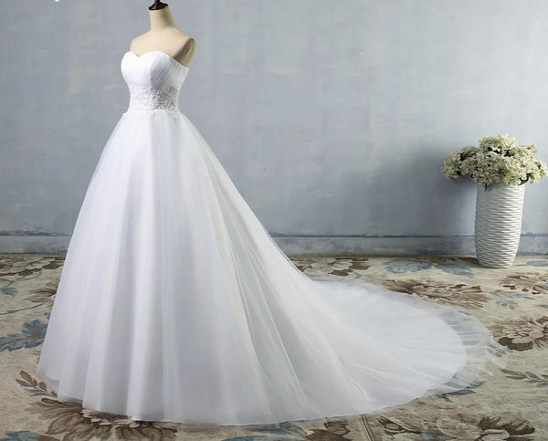 Tulle & Lace Wedding Dress with Draped Bodice