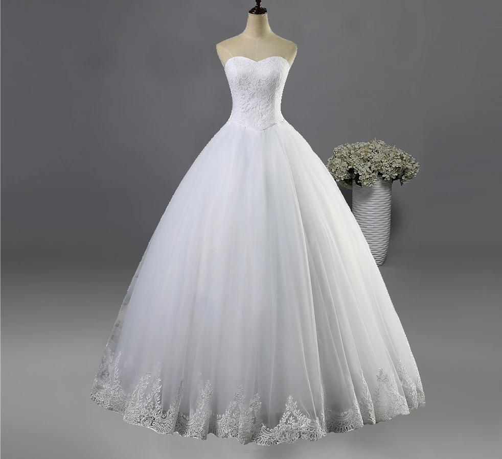 Wedding dress with a sweetheart bodice