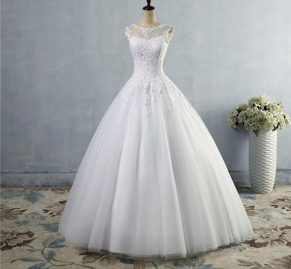 A-Line Wedding Dress with Tulle Skirt and Illusion Lace Bodice