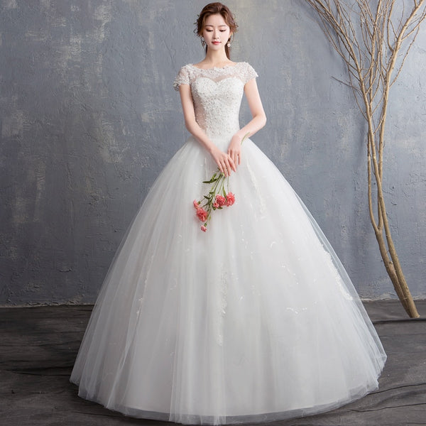 Ball Gown Wedding Dress with Bateau Neckline