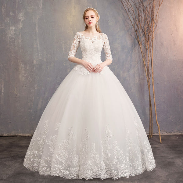 Off-White Ball Gown Wedding Dress with Sleeves