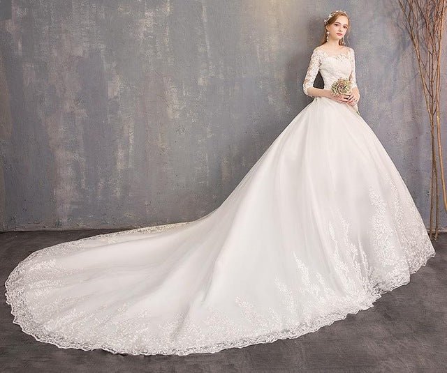 Wedding dress with three quarter sleeves