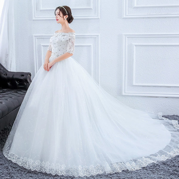 Off-the-Shoulder Princess Wedding Dress with Train