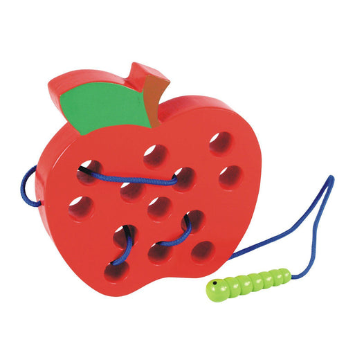 Wooden Learning Early Development Lacing Threading Apple -Educational Toys for Kids - free shipping
