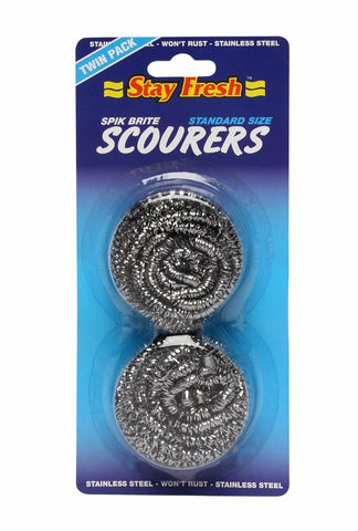 STAY FRESH SPIKBRITE STAINLESS STEEL SCOURER TWIN PACK