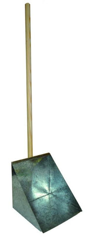 EDCO METAL DUST PAN PLATFORM SCOOP WITH WOODEN HANDLE