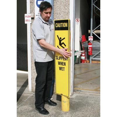 Bollard Safety Sign - Wet Floor 1230 x 900mm - 1 Side Yellow