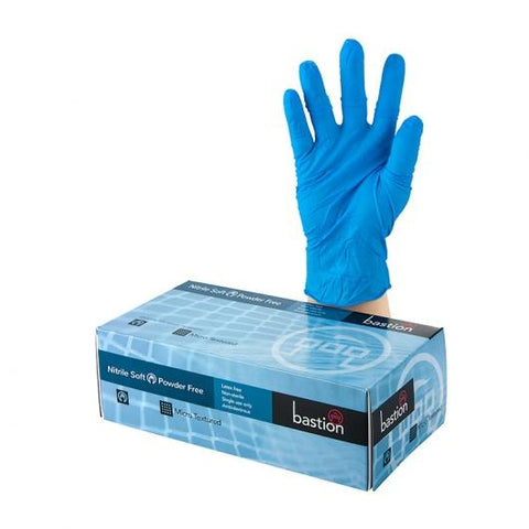 Bastion Nitrile Soft Blue P/F Large Gloves