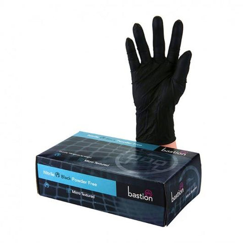 Bastion Nitrile Black P/F Large Gloves