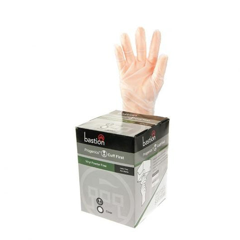 Progenics Vinyl P/F Clear Gloves Medium (9cm)