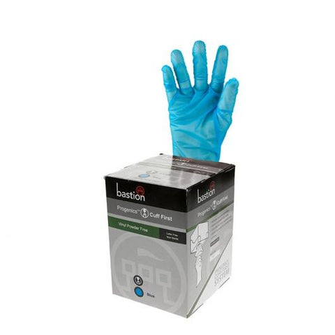 Progenics Vinyl P/F Blue Gloves Medium (9cm)