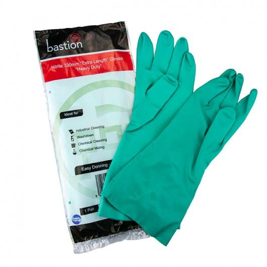 Bastion Nitrile Green Flocklined Large Gloves 330mm Cuff