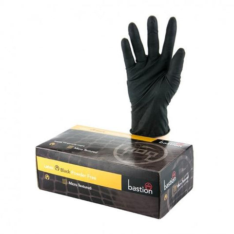 Bastion Black Latex P/F Large Gloves