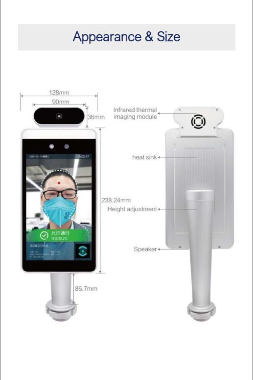 FACE RECOGNITION TERMINAL WITH FEVER AND FACE MASK DETECTION