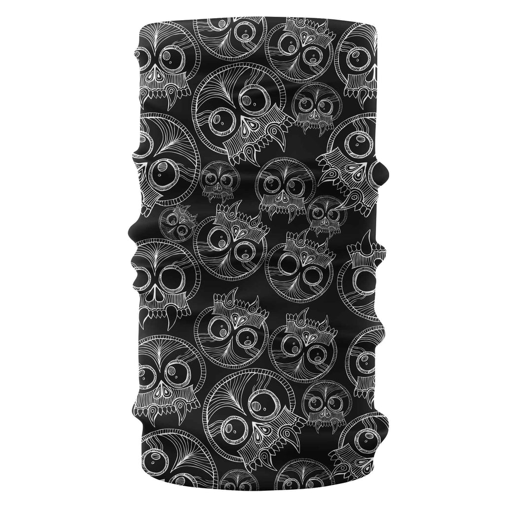 skulls bandana buff black pattern