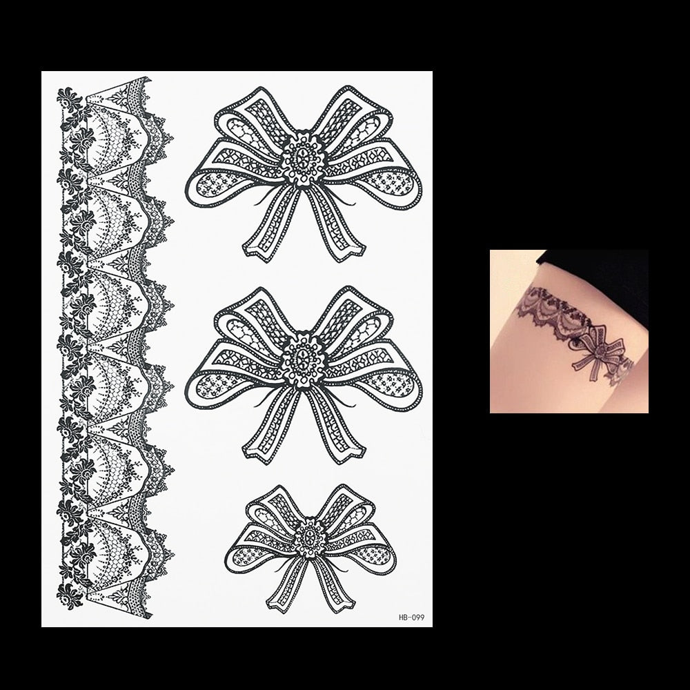 laces pattern temporary tattoo medium