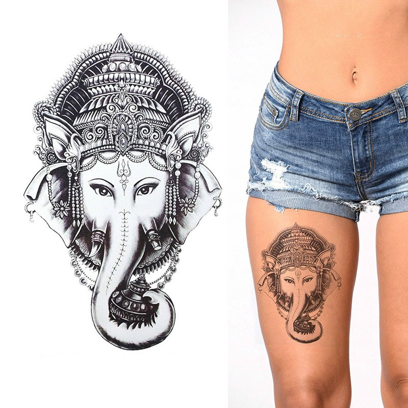 ganesha black and white temporary tattoo