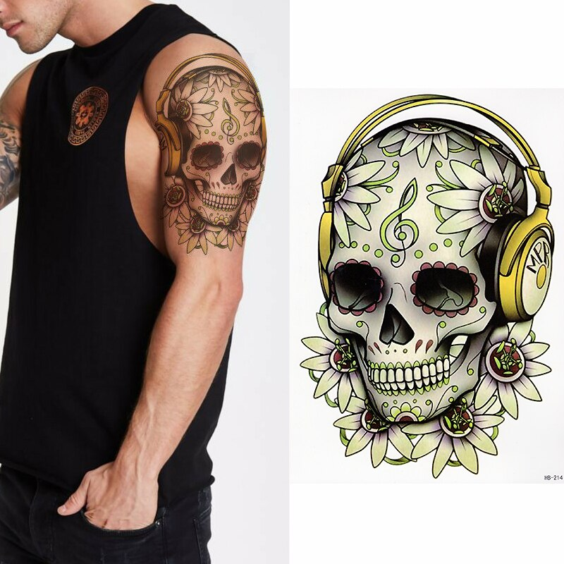 """Hip-hop skull"" temporary tattoos -medium"