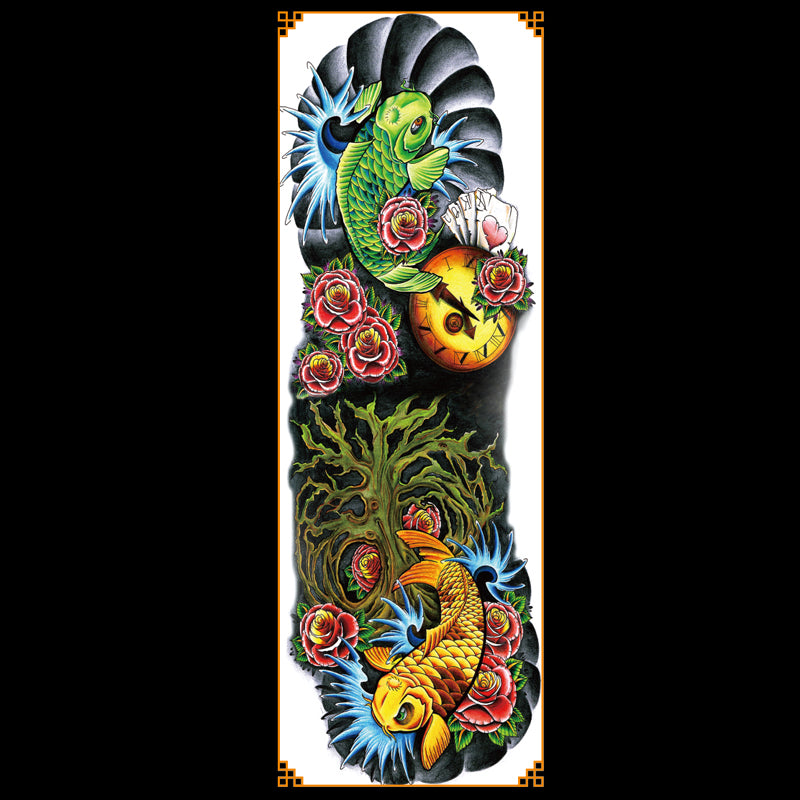 QB-3002 Japanese koi fish temporary tattoo sleeve
