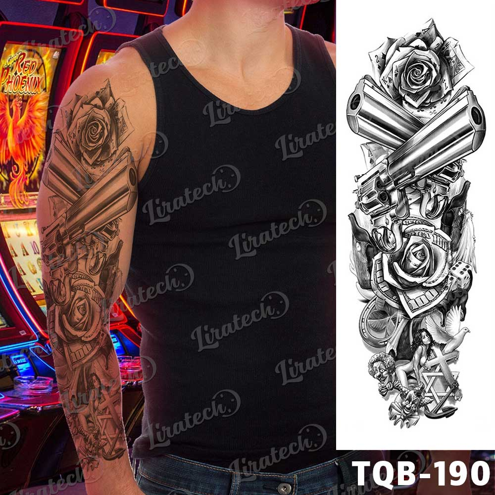 Money and gambling - temporary tattoo sleeve