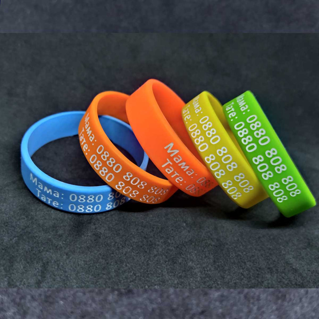 Children silicone bracelets with phone numbers Liratech Europe