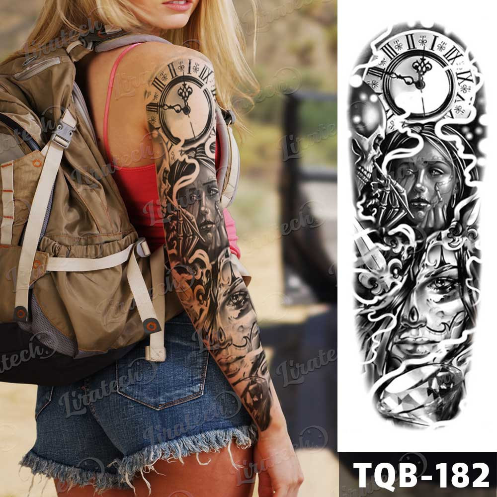 """Time flies"" temporary tattoo sleeve"