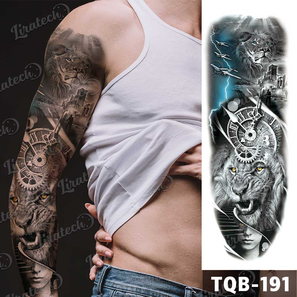 temporary tattoo lions pattern sleeve size