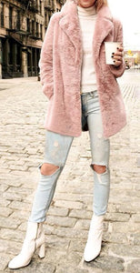 Pink vegan faux fur plush teddy coat