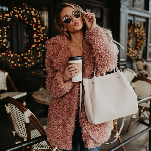 Fluffy Pink Vegan Teddy Coat