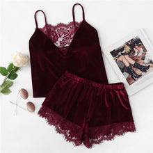 Load image into Gallery viewer, Lace Trim Velvet Cami & Shorts Pyjamas