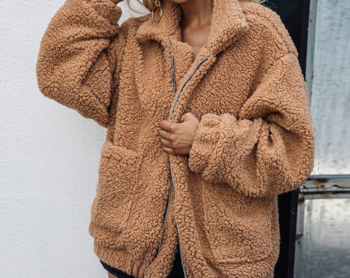 Butterscotch Plush Teddy Coat // Oversized Faux Fur Vegan Lambswool Jacket