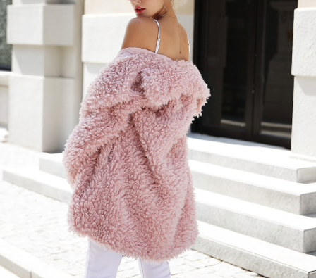 Vegan pink plush jacket