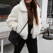 Load image into Gallery viewer, White Faux Fur Teddy Coat