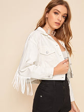 Load image into Gallery viewer, White Fringe Denim Jacket