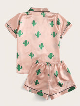 Load image into Gallery viewer, Cactus Print Satin Pajama Set